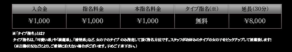 『秘密倶楽部 凛 TOKYO』錦糸町デリヘル 待ち合わせ型 人妻デリバリーヘルスFIRST STAGE基本料金